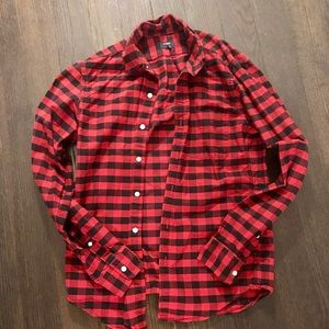 Red and Black J. Crew Plaid Flannel
